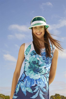 Haşema Blue Floral Patterned Sleeveless Navy-Blue Half Coverage Swimsuit