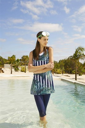 Haşema Palm Patterned Sleeveless Navy-Blue Half Coverage Swimsuit